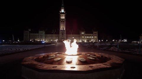 Parliament at night time lapse ottawa canada