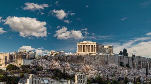 Parthenon, Acropolis of Athens, 4k timelapse video, Greece