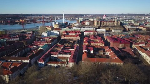4k aerial drone footage - Beautiful red roofs of Gothenburg, Sweden