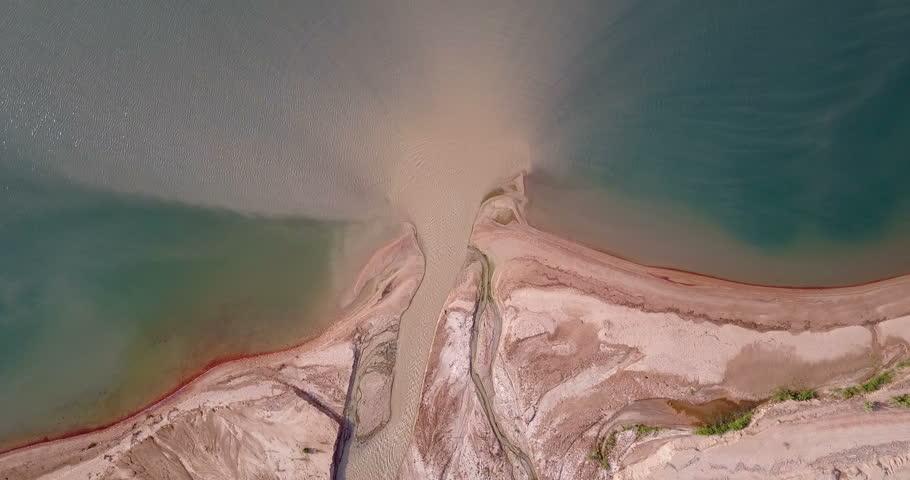 Jordan River mouth to the Dead Sea flight Aerial shot of Jordan River mouth to the Dead Sea, Israel