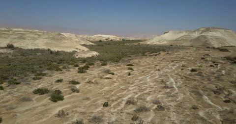 Desert flight Aerial view of Southern Jordan valley