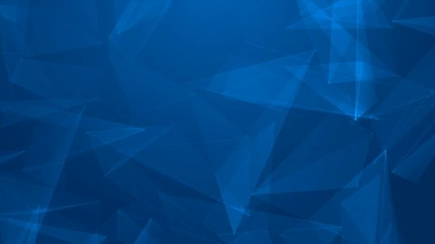 Abstract cg low polygonal surface. Geometric lowpoly Blue triangles motion background.