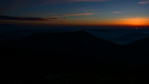 Sunrise in mountains time lapse, blooming rhododendrons against the background of the sunrise in the mountains, sunrise from the top of the mountain, sunrise in the Carpathians time lapse