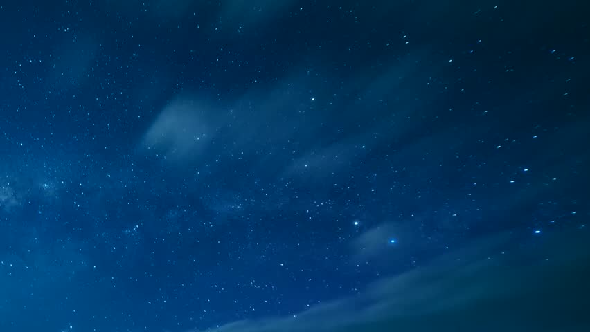 Time Tapse of Night Sky and Milky Way Galaxy, A night sky with a twinkling star field.