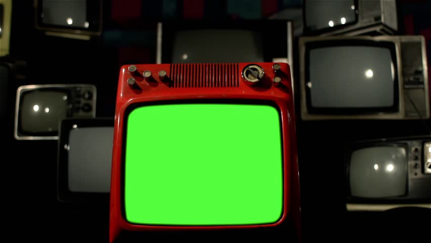 Vintage Red Tv Green Screen with Many 1980s Tvs. Dolly Out Shot. Neutral Color Tone. | Shutterstock HD Video #1009079126