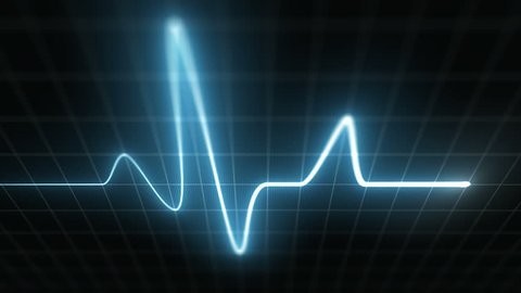 Stylized EKG Fast, Blue. Heart rate monitor / electrocardiogram (EKG or ECG) loop beeping at 120 beats per minute. Shallow depth of field, LCD pixels, 60fps.