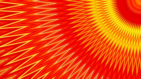 dynamic abstract background with kaleidoscope motions forming zigzag and spiral with semicircles and rotation turns in colors orange, yellow and red