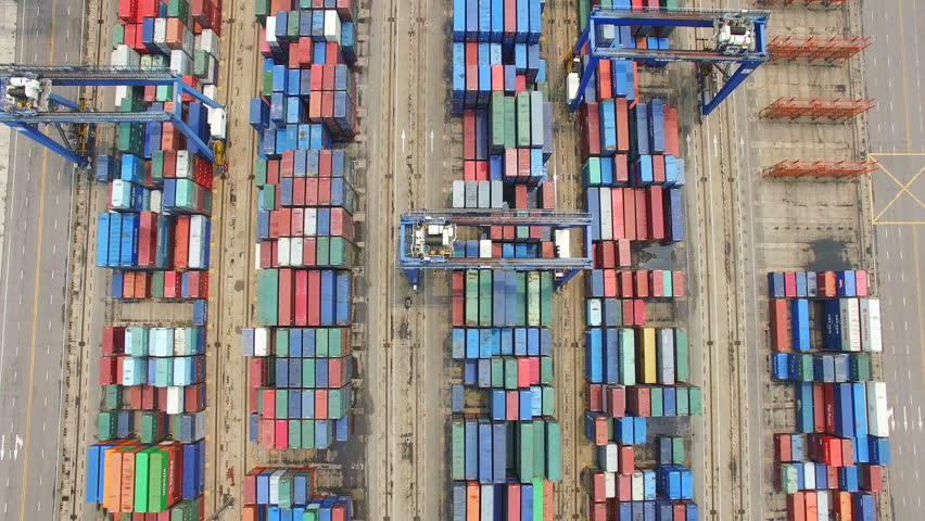 Tianjin, China - July 4, 2017: Aerial View of Harbor with cargo containers,Tianjin,China. #1009176536