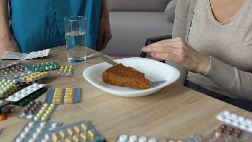 Capricious old woman refusing eat hospital pie, digestion problems, nursing home