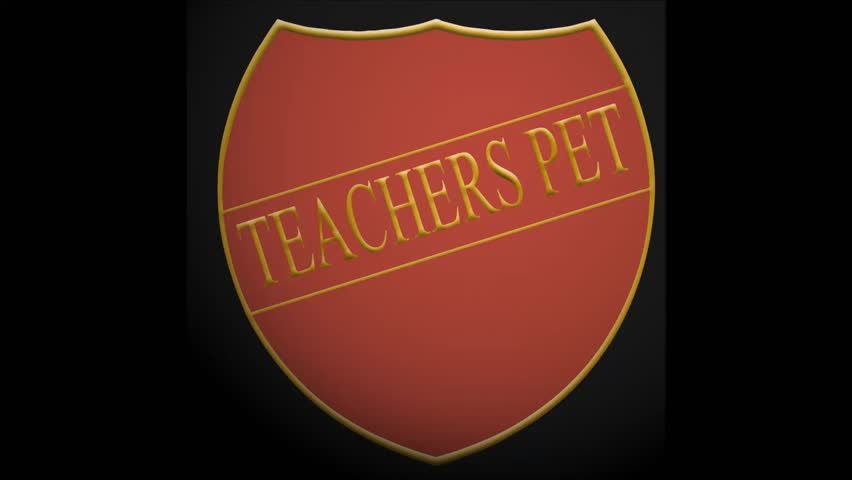 Award badge with the word - teachers pet spinning
