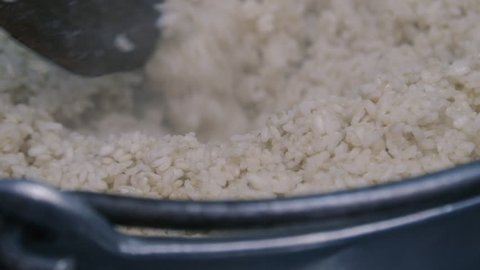 Cooked rice in a pot