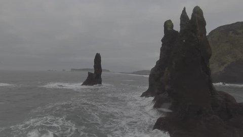Point-of-interest shot of the Reynisdrangar from the Phantom 4.
