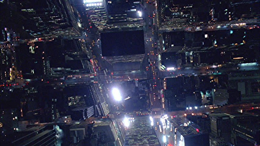 Aerial shot of Manhattan in New York at Night