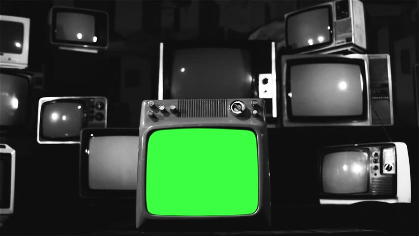 Vintage Tv Green Screen with Many 1980s Tvs. Dolly In Shot. Black and White Tone. | Shutterstock HD Video #1009220396