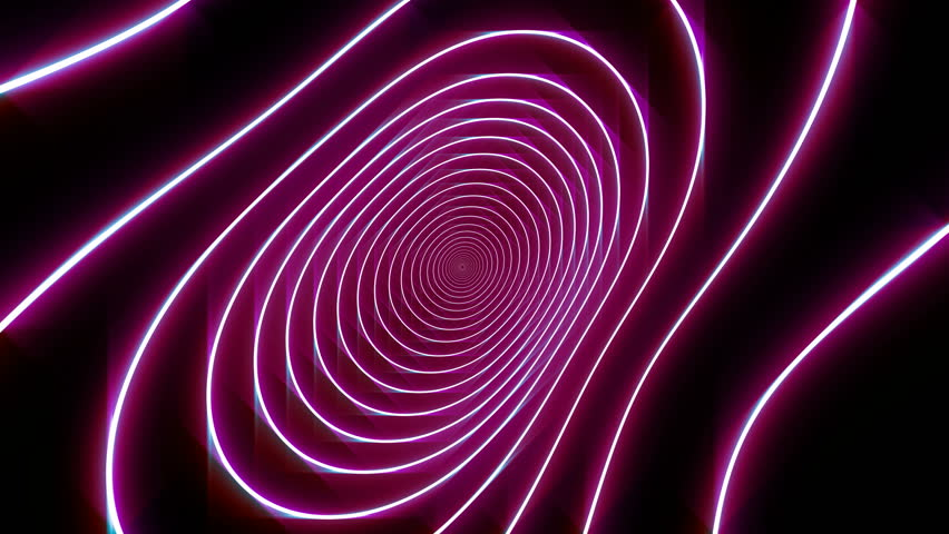 Violet abstract neon lines animation on dark background.