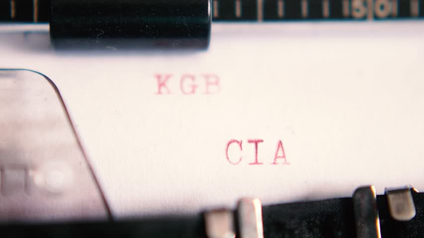 "Typing ""SOVIET UNION KGB / USA CIA"" on an old typewriter"