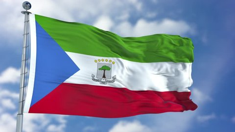 Equatorial Guinea Flag in a Blue Sky. Use this clip loud and proud to express loyalty and love to our country. It is a seamless loop with luma channel.