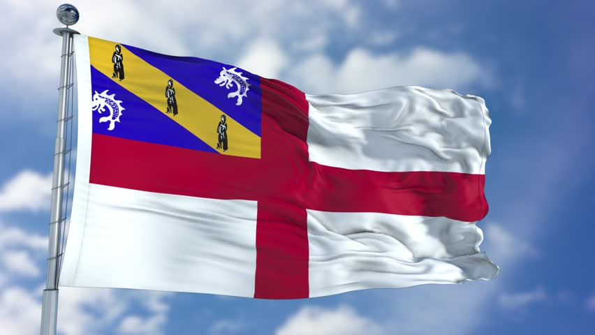 Herm Flag in a Blue Sky. Use this clip loud and proud to express loyalty and love to our country. It is a seamless loop with luma channel.