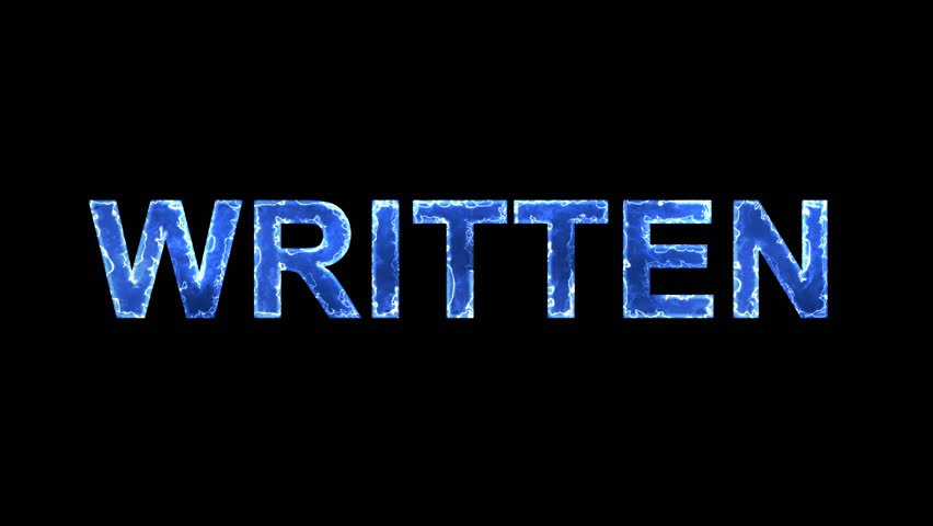 Blue lights form luminous text WRITTEN. Appear, then disappear. Electric style. Alpha channel Premultiplied - Matted with color black | Shutterstock HD Video #1009271756