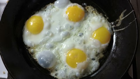 Cooking eggs in a frying pan. Video with sound.
