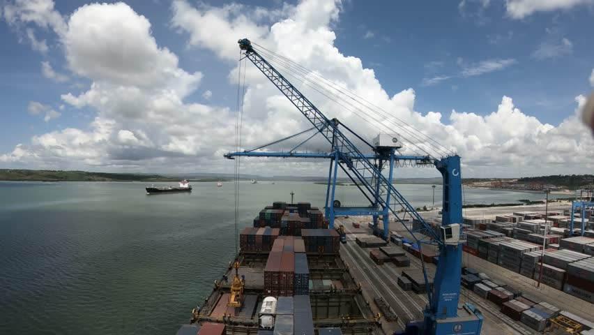 Mombasa, Kenya - March 25 2018: Cargo operations in the port of Mombasa, Kenya