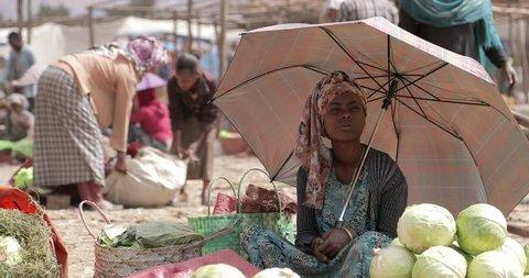 Butajira, ETHIOPIA - JANUARY 20, 2017: Somali Region of Ethiopia Butajira a small poor poverty village rural community. Butajira is a marketplace town and separate woreda in south-central Ethiopia.