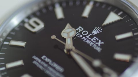 BOLOGNA, ITALY - MARCH 14, 2018: Rolex Oyster Perpetual Explorer watch close up. Rolex SA is a Swiss luxury watchmaker, founded in London in 1905. Illustrative editorial.