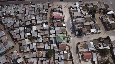 Township slum in Cape Town seen from drone flying above