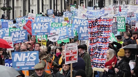London, UK - February 2018: Tens of thousands of people march on the NHS Crisis protest