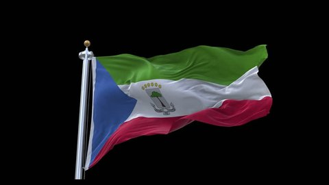 Realistic Ultra-HD flag of the Equatorial Guinea  waving in the wind. Seamless loop with highly detailed fabric texture. Loop ready in 4k resolution.