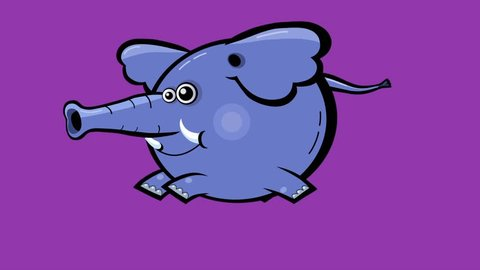 Cartoon elephant seamless transitions character with alpha – running, walking, turning
