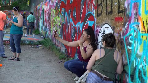 Austin, Texas / United States - 04 03 2018: Castle Hill Graffiti Park Months Before It Is Demolished in Austin, Texas.