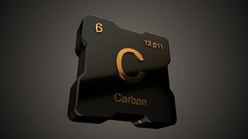 Carbon element symbol from periodic table on futuristic black icon animated on dark background and chroma key green screen background | Shutterstock HD Video #1009540226