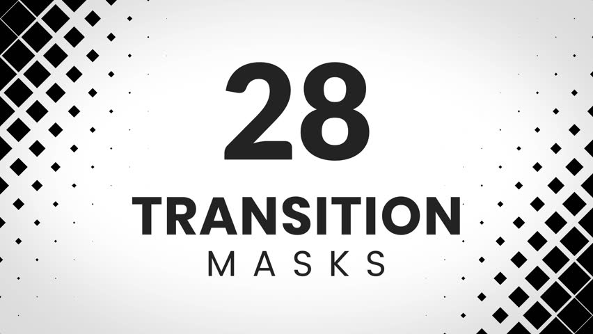 28 transition masks. Ultimate pack of simple rhombus textures for business presentation or product promo.
