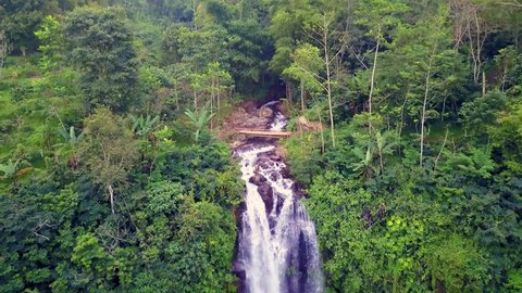 aerial pull away and tilt down shot with dron above beautiful Bali paradise waterfall and jungle rainforest in beautiful Asia travel destination and Summer vacations trip concept