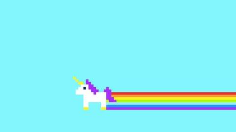 Pixel Art Style Unicorns and Rainbows Animated Retro Background 4K Clip.