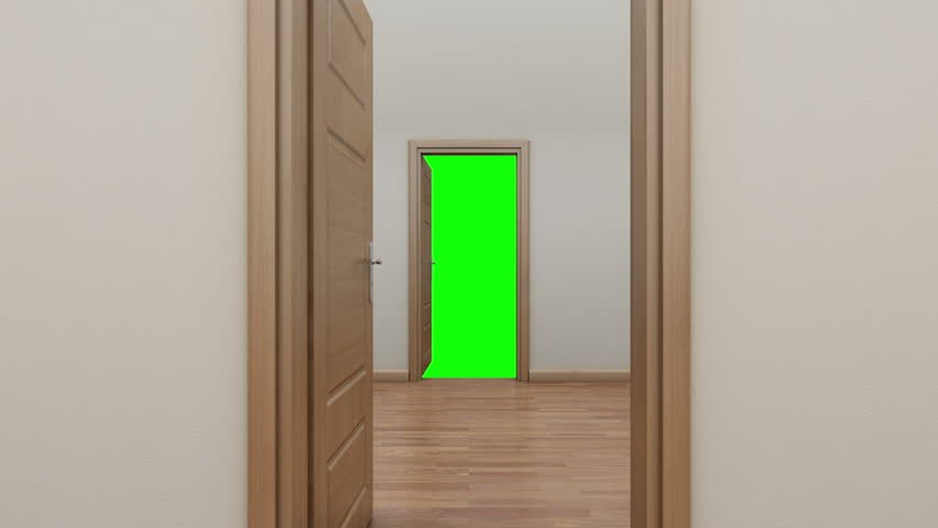 Enfilade opening two doors to the outside. Green screen. - HD stock video & Enfilade Opening The Door To The Outside.Green Screen. Stock ...