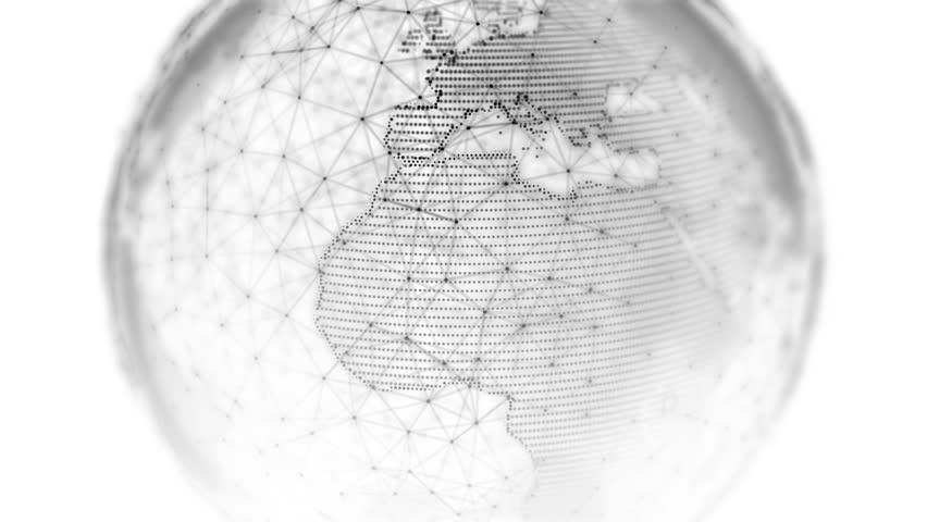 Digital world globe - 3D rendering of a technology connected data network. Seamless loop | Shutterstock HD Video #1009576076