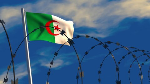 3D animation of an Algerian flag waving on a flagpole with razor wire in the foreground; depicting security and barriers between nations.