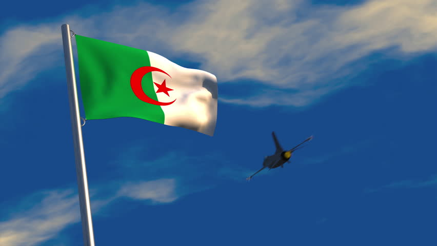 3D animation of a fighter jet flying past an Algerian flag waving on a flagpole; depicting heightened military activity.