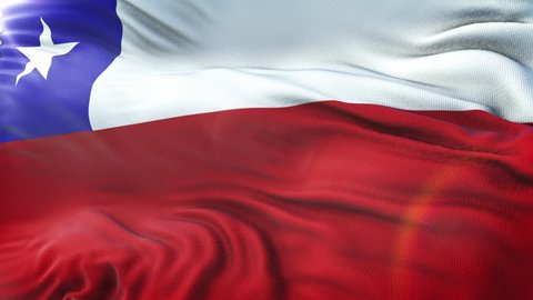 Flag of Chile waving on sun. Seamless loop with highly detailed fabric texture. Loop ready in 4k resolution.