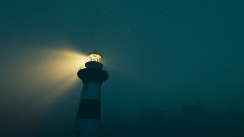 Lighthouse light spining around. Loopable animation.