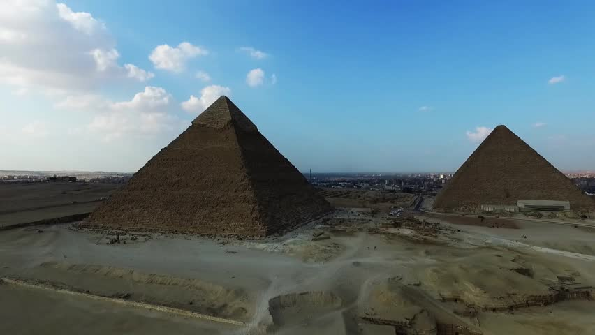aerial view of the great pyramids in Giza valley, Cairo, Egypt