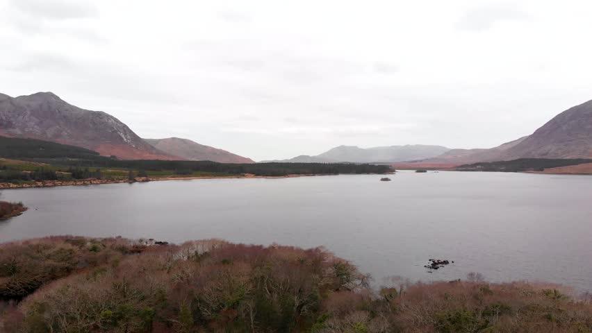 Aerial view of lake in Connemara, Ireland. | Shutterstock HD Video #1009637456