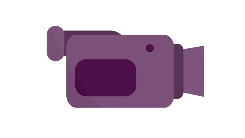 Camcorder video camera Icon symbol motion graphics in and out animation pink purple