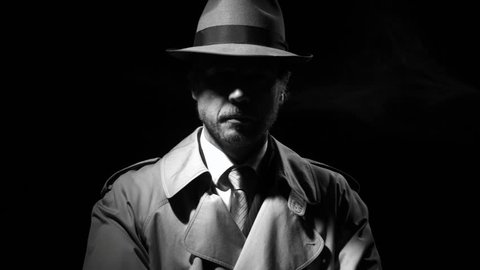 Confident noir film spy with trench coat and fedora hat in the dark, he is stepping forward and crossing arms