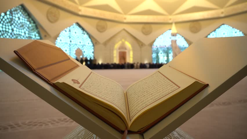 4-  Koran or Quran - holy book and noon prayer in congregation male Muslims sacred Mosque with Sound  ISTANBUL, TURKEY - MARCH 2018 | Shutterstock HD Video #1009711106