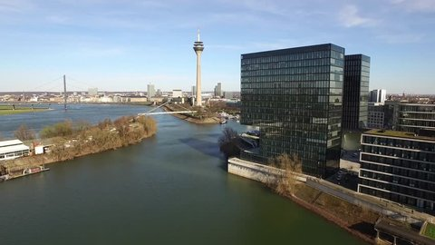 Aerial view of the Dusseldorf Media harbour in Germany - Europe.