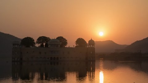 Jaipur India - Jal Mahal Water Lake Palace - Sunrise Time Lapse