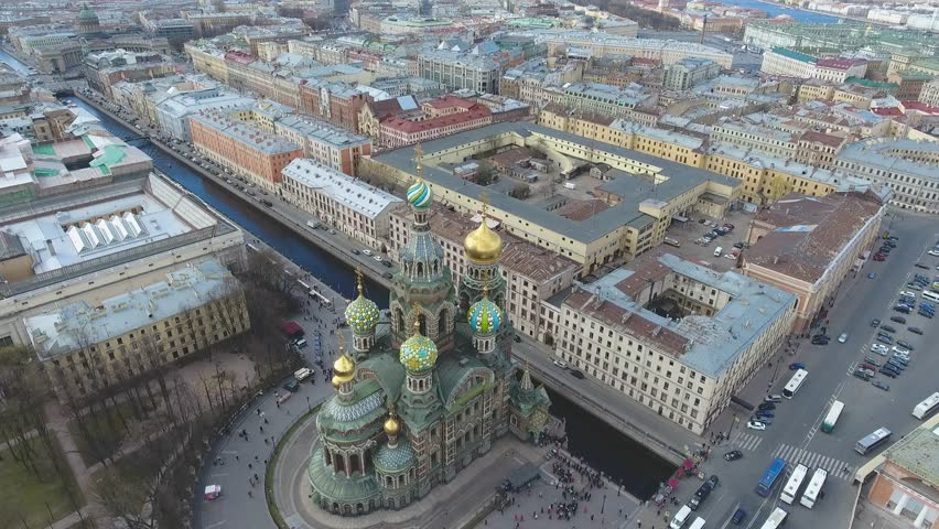 Flight over St. Petersburg. Aerial flight over Saint Petersburg center downtown. View of sightseeing from above. Unique footage. Roofs of St. Petersburg. Savior on Spilled Blood. | Shutterstock HD Video #1009742126